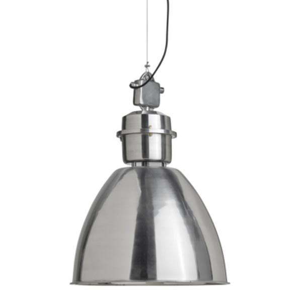 Se her taklampe med industrielt look i sølvfinish i ekte
