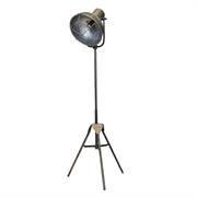 Industiel standerlampe i antique kul